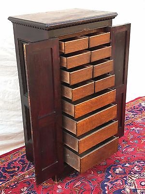 Antique Victorian Raised Panel Primitive Oak & Pine Apothecary / File Cabinet