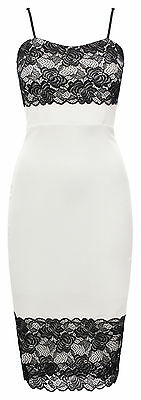 NEW ~ Womens White Scalloped Floral Lace Crepe Style Sleeveless Dress