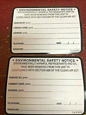 "Refrigerant  RECOVERED Sticker,  ""Environmental Saftey Notice"" *2"