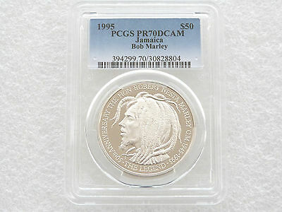 1995 Bob Marley 50th Anniversary $50 Fifty Dollar Silver Proof Coin PCGS PR70 DC