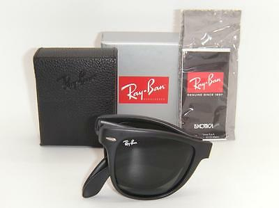 Authentic New Ray-Ban Folding Wayfarer Matte Black/Green Lens RB 4105 601S 54mm