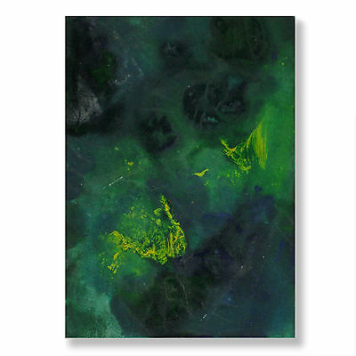 The Gassy ACEO Abstract Green Blue Yellow a/ Acrylic Painting Artist E Black US