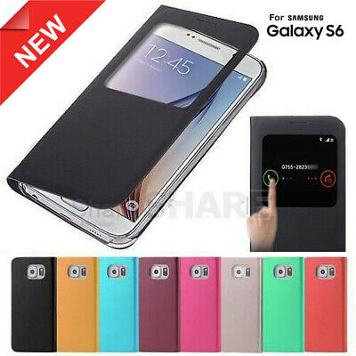 S View Window Flip Leather Cover For Samsung Galaxy S6 Case G9200