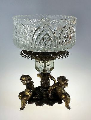 Vintage 3 Toed Crystal Compote Dish with Brass Metal Cherub Base Large & Heavy