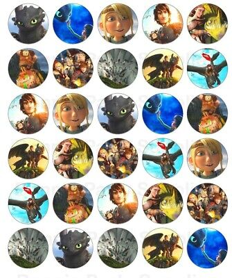 30 x How to Train Your Dragon Edible Cupcake Toppers