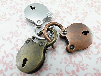 Old Vintage Antique style SMALL Padlock Key Lock( Lot of 3) Assorted color-New