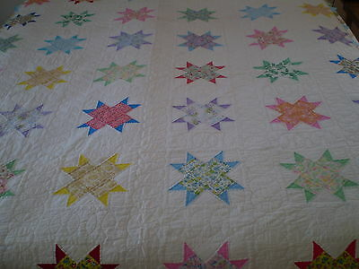 "Vintage Patchwork Hand Quilted Star Quilt Cutter Repair Craft White 70"" x 80"""