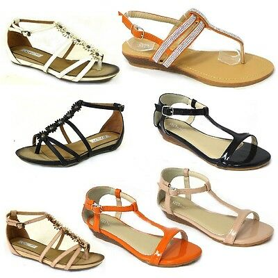 e6d9778e93f95 Womens Ladies New Fashion Gladiators Summer Party Sandals Beach Flat Shoes  Size