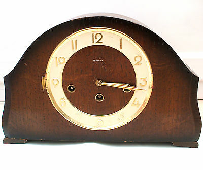 "Tempora Oak Case Westminster Chimes Mantle Clock GWO 8""H 12.5""W 3""D"