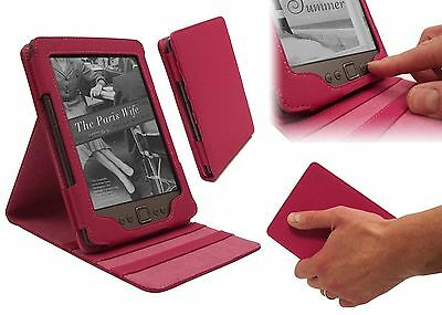 Amazon Kindle 4 Luxury LuxFolio PU Leather Dual Flip Stand Case Cover - Pink