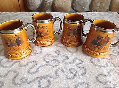 Lord Nelson Pottery Mug Tankard Stein England Set of 4 What's Yours? Silver VG!