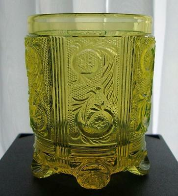 Antique French Lacy Glass Tumbler Circa 1840s ~ Canary Vaseline Flint Glass RARE