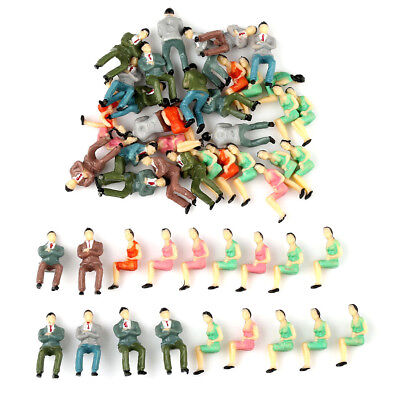 50pcs Painted Model Train Seated People Passengers Sitting Figures O Scale 1:50