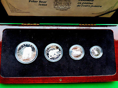 CANADA 1990 PLATINUM POLAR BEAR 4 COIN PROOF SET, PURE .9995 PLATINUM, 1.85 Troy