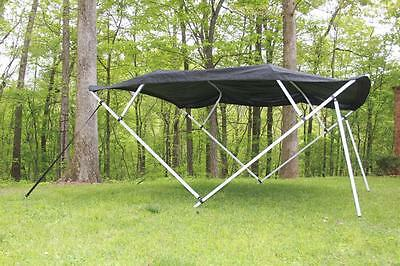 New Vortex Square Tube Frame 4 Bow Pontoon/deck Boat Bimini Top 12' Black 91-96""