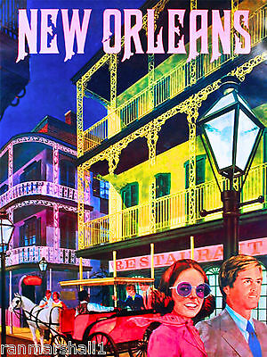 New Orleans Louisiana French Quarter United States Travel Advertisement Poster