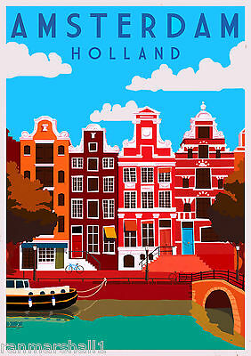 Amsterdam Dutch  Holland Netherlands Europe Travel Art Poster Advertisement