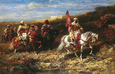 AAA huge Oil painting Arab Horseman In A Landscape with white horses by river AA