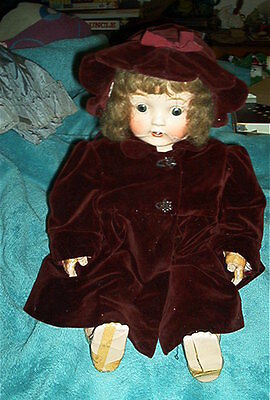 ANTIQUE COMPOSITION BABY DOLL - MOVING EYES, OPEN MOUTH W/ TEETH, TONGUE-REPAIR