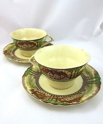 2 Vintage Myott Son & Co England Countryside Hanley China Cups and Saucers