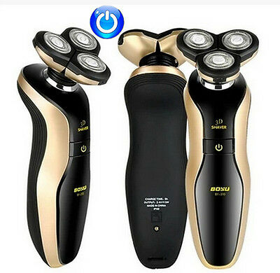 Gold Deluxe Rotary 4D Rechargeable Washable Men's Cordless Electric Shaver Razor