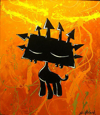 KING BLACK Abstract Art African Lion Painting Large Huge Modern Framed Canvas