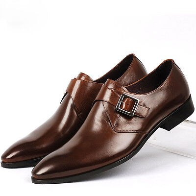 New buckle slip on loafers Leather Men oxford classic formal Dress texduo shoes