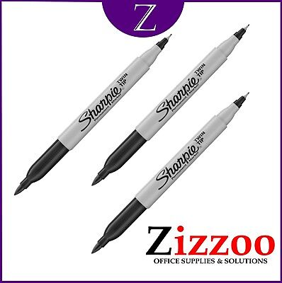Sharpie Twin Tip Marker Pen Black With Fine And Ultra Fine Tip Pack Of 3 Free Pp