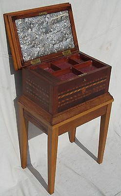 Excellent Large 19Th Century Inlaid Jewelry Chest On Frame-The Very Best Quality