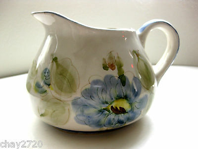 COLLECTIBLE HAND PAINTED FLORAL CERAMIC PITCHER  MADE IN PORTUGAL