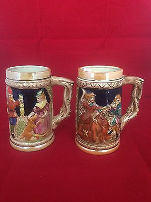 Vintage Hand Painted Pottery Beer Mug - Made In Japan Set Of 2