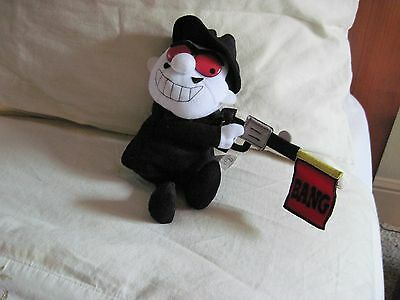 Stuffed Boris from Bullwinkle adventures with gun says Bang Stuffins