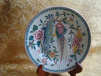 Vintage Pheasant Floral Pattern Plate Desined by Outeird Abueda Portugal