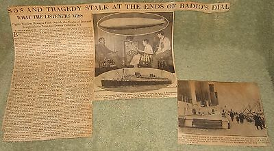 1933 CLIPPINGS 21ST ANNIVERSARY TITANIC SINKING MARCONI WIRELESS PLAYS A ROLE