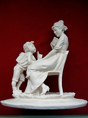 ITALIAN SCULPTURED MOTHER and SON SIGNED Vintage