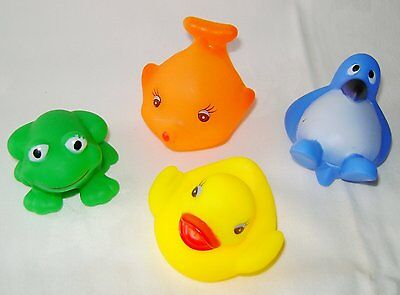 New Set Of 4  Bath Ducks Floating & Squeaking Toys Sil- 1307
