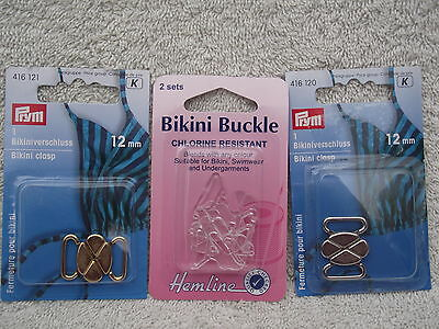 12mm BIKINI CLASP/BUCKLE - Choose from Plastic or Silver/Gold Metal