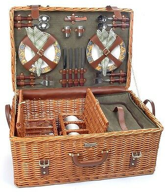 """Picnic & Beyond Willow Picnic Basket """"The Riviera Collection -B """" for 4"""