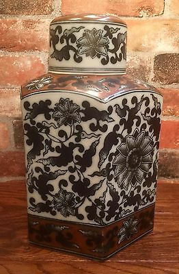 Antique-Styled Porcelain Hexagonal Urn with Lid