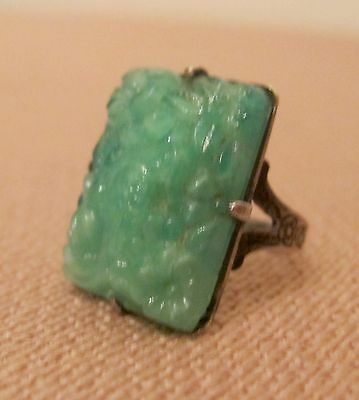 antique Chinese hand made cut green bird jade sterling silver ring old glass