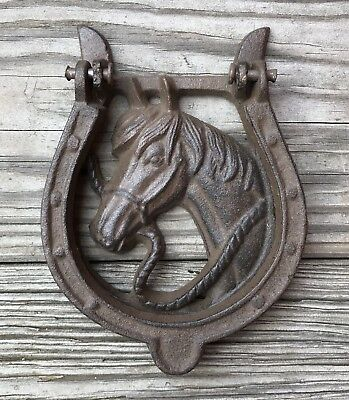 Cast Iron Horse with Horseshoe Vintage Country Door Knocker