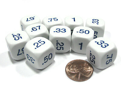 Set of 10 D6 16mm Educational Classroom Decimal Dice - White with Blue Numbers