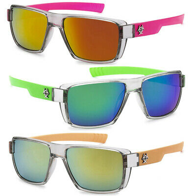 Biohazard Square Flat Top Men's Women's Sunglasses Translucent 2 Tone Frame