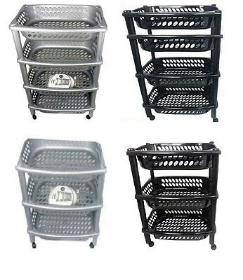 H Quality 4 & 3 Tier Kitchen Fruit Vegetable Storage Trolley Plastic With Wheels