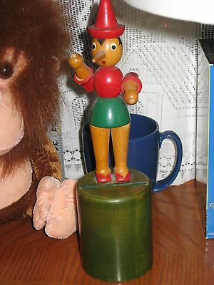 RARE VINTAGE ITALY WOODEN WOOD MOVABLE HEAD AND ARMS DOLL PINOCCHIO BANK