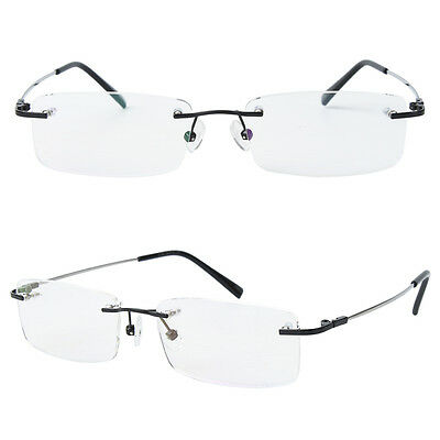 Memory Titanium Rimless Myopia Women Mens Optical Flexible Eyeglasses Frame Rx