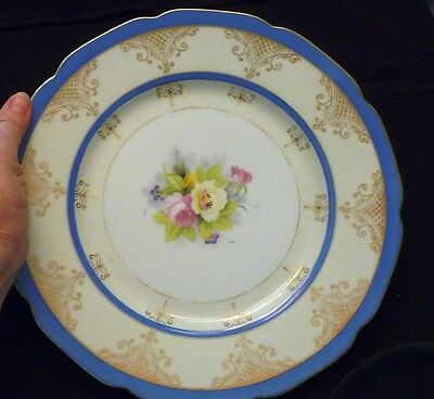 """Vintage, Regal China (Japan) dinner plate 10.75"""", blue, gold, Flowers in middle"""