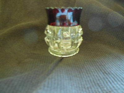 """EAPG - Thompson Glass Co. #77 """"Truncated Cube"""" red flashed T.P. holder"""
