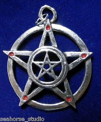 "WICCA Pagan ""PROTECTED POWER"" PENTAGRAM PEWTER PENDANT w/ black necklace cord"