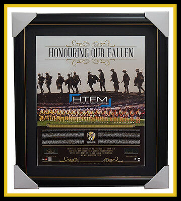 Richmond Honouring Our Fallen ANZAC Signed AFL Print Framed Cotchin & Hardwick
